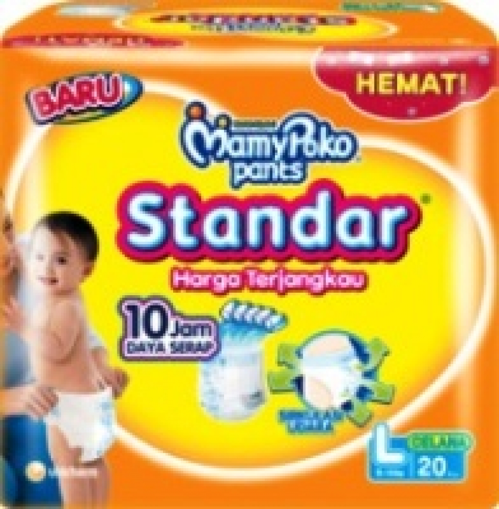 Detil Produk Mamypoko Pants Standar L 20 Diapers L20